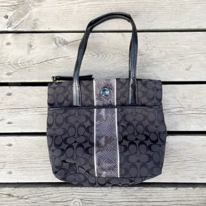 Coach Signature Tote With Snakeskin Purse